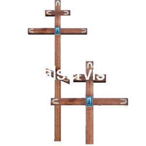 """Крест на могилу """"Узкий с иконой"""" сосна"""