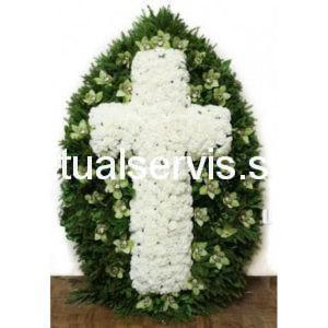 """Венок из живых цветов """"Белый крест"""""""