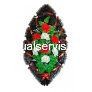 """Венок """"Белые и красные розы"""" с черным оформлением"""