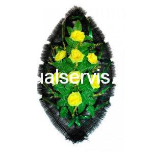 """Венок """"Желтые розы"""" с зеленью"""