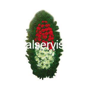 """Венок из живых цветов """"Красно-белый, гвоздики и хризантемы"""""""