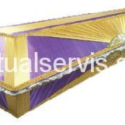 """Гроб обитый тканью двухцветный """"Бабочка"""", сиреневый/золото"""