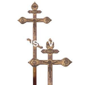 """Крест на могилу """"Фигурный с декором"""" сосна (состаренный)"""