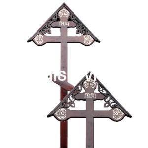 """Крест на могилу """"Фигурный домик"""" сосновый"""