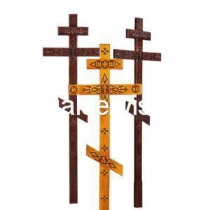 """Крест сосновый """"Прямой с декором"""" могильный"""