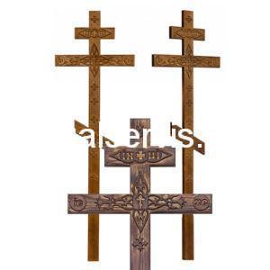 """Крест сосновый """"Прямой с декором"""" состаренный"""