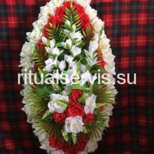 """Венок на похороны """"Красные и белые цветы"""""""
