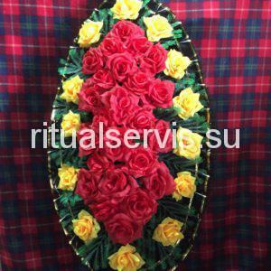 """Венок на похороны """"Алые и желтые розы"""""""