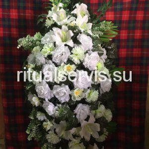 """Венок на похороны """"Белые и кремовые цветы"""""""