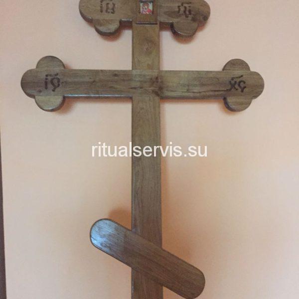 """Крест на могилу дубовый """"Трилистник"""""""