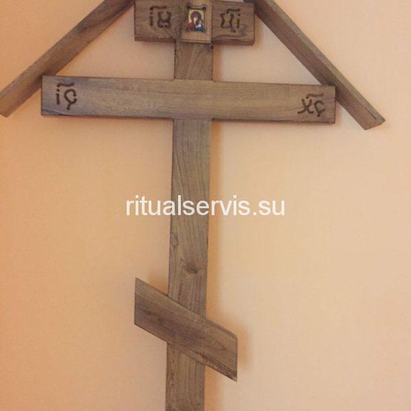"""Крест на могилу дубовый """"Домик с крышей"""""""